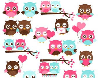 Valentine's Owls Clipart Set - cute owls, owls in love, Valentine's Day, romance, owl - personal use, small commercial use, instant download