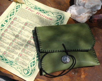 Hand Made Red Oak Elder Futhark Rune Set~Leather Pouch~Divination~Advice