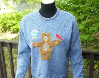 Teddy Bear Sweater, Vintage Sweater, Red Bird Sweater, Winter Fashion, Womens Clothing, Pullover Sweater, Blue Sweater, Size Medium