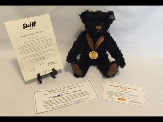 """Free Shipping-12"""" Standing-Steiff-Bear Of The Year-Jointed-Black-Mohair-Made Germany-Teddy Bear-#664489-IOB-COA"""