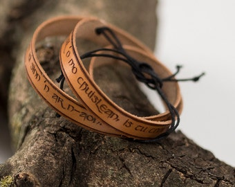 Leather Bracelet - Outlander Quote - Celtic Marriage - Outlander jewelry - Express Shipping