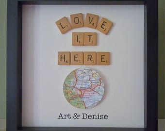 Scrabble Art -  Map Gift -  Vintage Scrabble Tiles -  Customized Gift - Black 8x8 inch Shadowbox Frame -   Home Gift - Gallery Wall Art