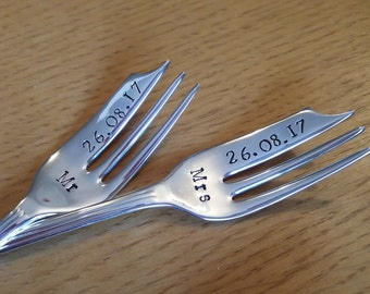 Wedding cake fork. Mr and Mrs. Mr/Mr. Mrs/Mrs. Wedding Date. Vintage. Personalised handstamped gift, keepsake. His Hers, Bride Groom.