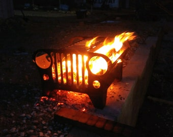 Jeep fire pit with gril