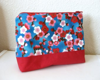 Blue and Red Cherry Blossom Zipper Pouch with Red Lining 5 x 7 Inches
