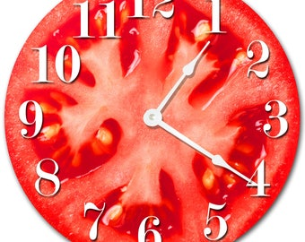 "10.5"" TOMATO Clock - RED Clock - Living Room Clock - Large 10.5"" Wall Clock - Home Décor Clock - 2017"