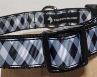 Black and White Diamond Dog Collar - Argyle Print Collar FREE Shipping