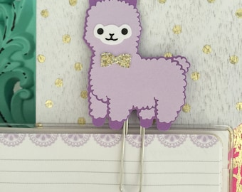 Lavendar Purple Cute Alpaca with gold bow decorative Planner Clip Bookmark paperclip page marker Kawaii pastel