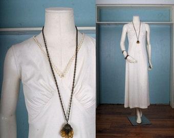 SALE White dress Maxi wedding bridesmaid bride cream lace edging Bohemian Gypsy Boho women size S or XS small extra small