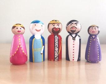 Purim Characters/Set of 5- Esther, Mordechai, Achashverosh, Haman, Vashti