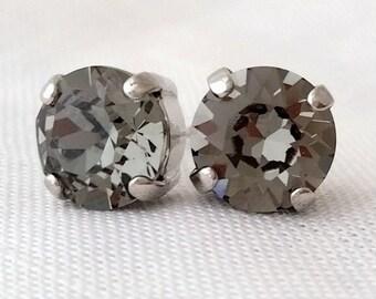 Smokey gray crystal earrings, Black diamond crystal studs, Bridesmaid gift, Petite Swarovski crystal studs, Grey crystal, Bridal earrings