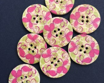 Set of eight [8] large wooden buttons in pink and green floral design.