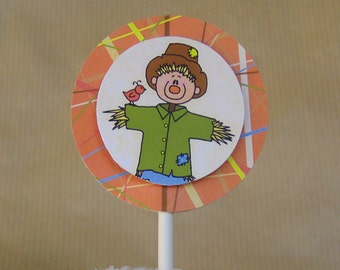 autumn harvest thanksgiving scarecrow cupcake cake toppers can be personalized - set of 12