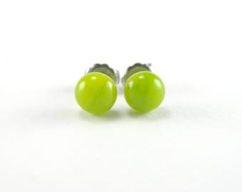 Lime and aventurine green fused glass stud earrings with surgical steel earring posts