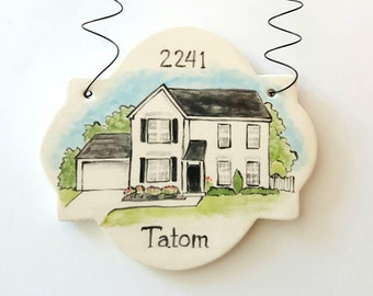CUSTOM Clay Ornament | Hand Painted House Portrait | Keepsake Ornament | Custom Christmas Ornament With Gift Box | Housewarming gift