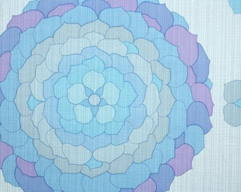 Retro Wallpaper by the Yard 70s Vintage Wallpaper - 1970s Large Blue and Purple Floral Bloom Flower Blossom
