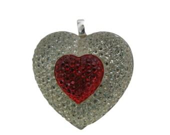 Valentines Chunky Pendant | Valentines Heart Pendant | Pave Acrylic Rhinestone Pendant | 1 1/4 inch |  Chunky Necklace Pendant