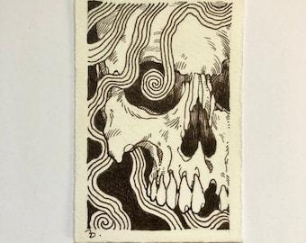 The Ties that Bind #1 skull pen and ink sepia drawing ORIGINAL