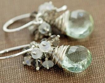 Sterling Silver Gemstone Cluster Earrings, Green Amethyst Moonstone Smoky Quartz, Handmade Earrings, aubepine