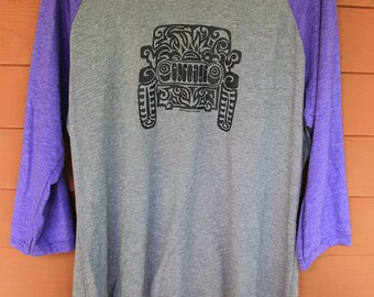 JEEP Tribal Tattoo LADIES Tri-Blend Raglan 3/4 Sleeve T-Shirt (2XL-4XL)
