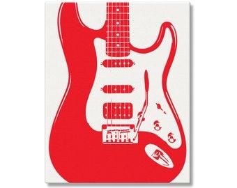 Electric Guitar Art, Fender Stratocaster Poster, Gift for Guitarist, Guitar Nursery Art, Guitar Wall Art