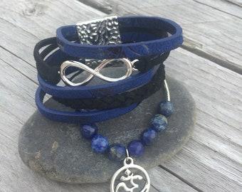 Crystal healing, leather, infinity Cuff Bracelet, om