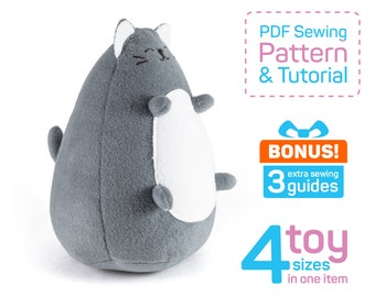 Fatty Cat sewing pattern PDF | Stuffed cat pattern to sew | Plush cat pattern sewing | Cat stuffed animal pattern | Cat patterns sewing