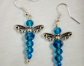 Crystal Glass Deep Blue Dragonfly Earrings
