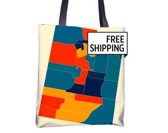 Utah Map Tote Bag - UT Map Tote Bag 15x15