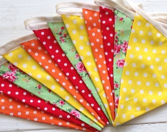 Double sided Fabric Bunting: rose flowers, red, orange, yellow dots