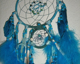 Crystal Prism Dreamcatcher, Zuni Bear Totems-Apatite,Opal,Crystal beads on hemp cord,blue turquoise,Native American inspired-