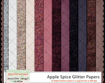 Instant Download - Set of 12 digital papers - Apple Spice Glitter Papers