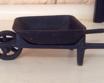 Miniature Cast Iron Wheel Barrow with moving wheel