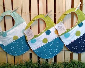 Quilted Baby Bibs - Modern Baby Bibs - Baby Shower Gift - Polka Dot Bibs -  Baby Gift - Cotton Baby Bibs - Boy Baby Bibs