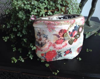 lined fabric pouch fabric shabby