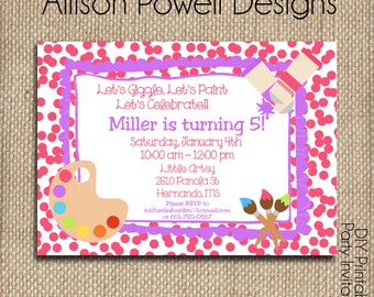 Paint Party, Paint Your Own Pottery,Art Party  Birthday Party, Painting Party Invitations - Girls