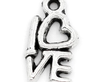 "5 Pieces Antique Silver  ""Love"" Heart Charms"