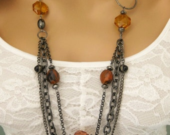 Long Brown Necklace, Beaded Necklace, Long Brown Beaded Necklace, Multi Strand Brown Beaded Necklace, Long Necklace, Gunmetal Necklace, N838