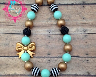 Mint Gold and Black Chunky Necklace-Mint and Gold Chunky Necklace-Mint Gold bubblegum necklace-Photo Prop- Pageant Necklace