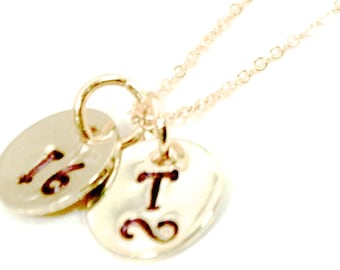 Initials necklace   Numbers necklace   Hand stamped necklace   Gold initals or numbers disks   2 disks necklace   FREE SHIPPING in US