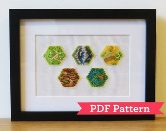 Settlers of Catan Board Game Tiles Cross Stitch Pattern