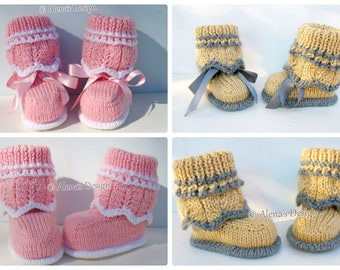 Knitting Pattern 185 - Knitting Booties Pattern Knitting Patterns High-Top Baby Booties Newborn Baby Boys Baby Girls Pink Grey Baby Shower