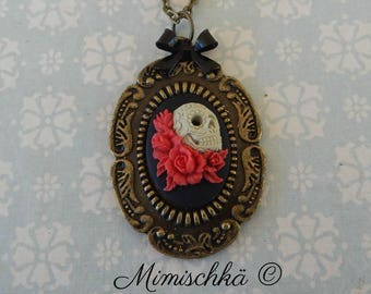 necklace cameo sugar skull red roses