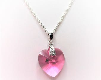 Pink Heart Pendant in Sterling Silver Swarovski Crystal  Pink Crystal Necklace Rose Heart Pendant Pretty Gift for Her Valentines Day Gift