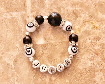 Evil eye protection baby and toddler customized bracelet with name