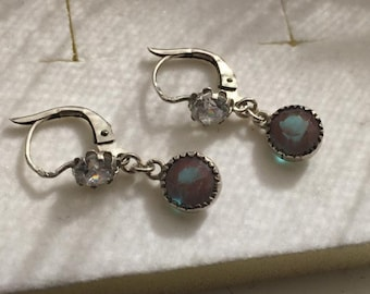 FINAL MARKDOWN Superb Art Deco Silver French Dormeuse Saphiret Diamond Paste Leverback Earrings.