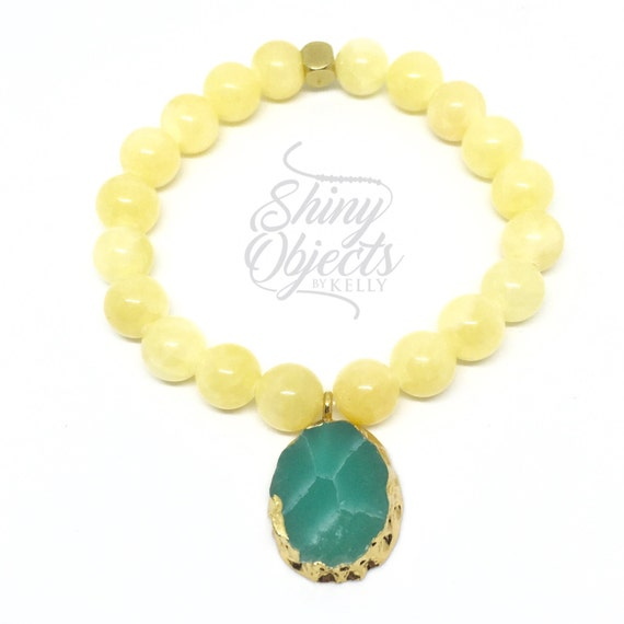 Yellow Jade Bracelet with Gold Plated Acrylic Pendant