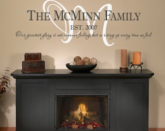 Family Name Wall Decal with Year and Personalized Saying or Motto