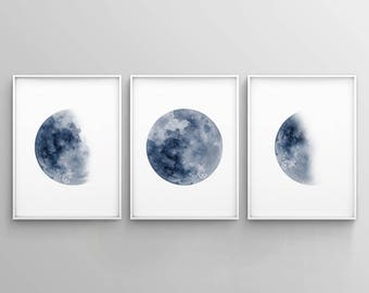 Moon Phase Print Set of 3 Watercolor Prints Celestial Bedroom Wall Decor Wall Art Luna Blue Indigo Lunar Phases Home Decor Moon Printable