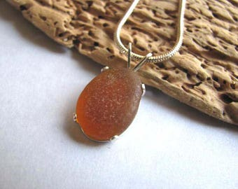 Amber Beach Glass Pendant - Sea Glass Jewelry - Sea Glass Necklace - Beach Glass Jewelry - Ocean Jewelry Gifts - Seaglass from Beer Bottles